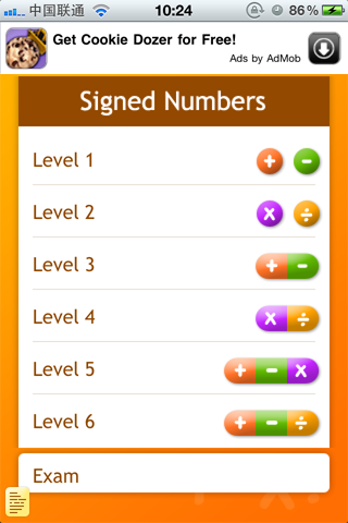 Screenshot Signed Numbers Lite