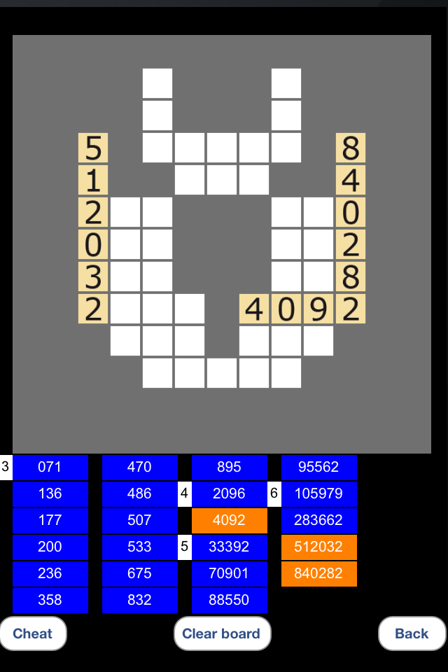 Screenshot Cross Numbers for iPhone
